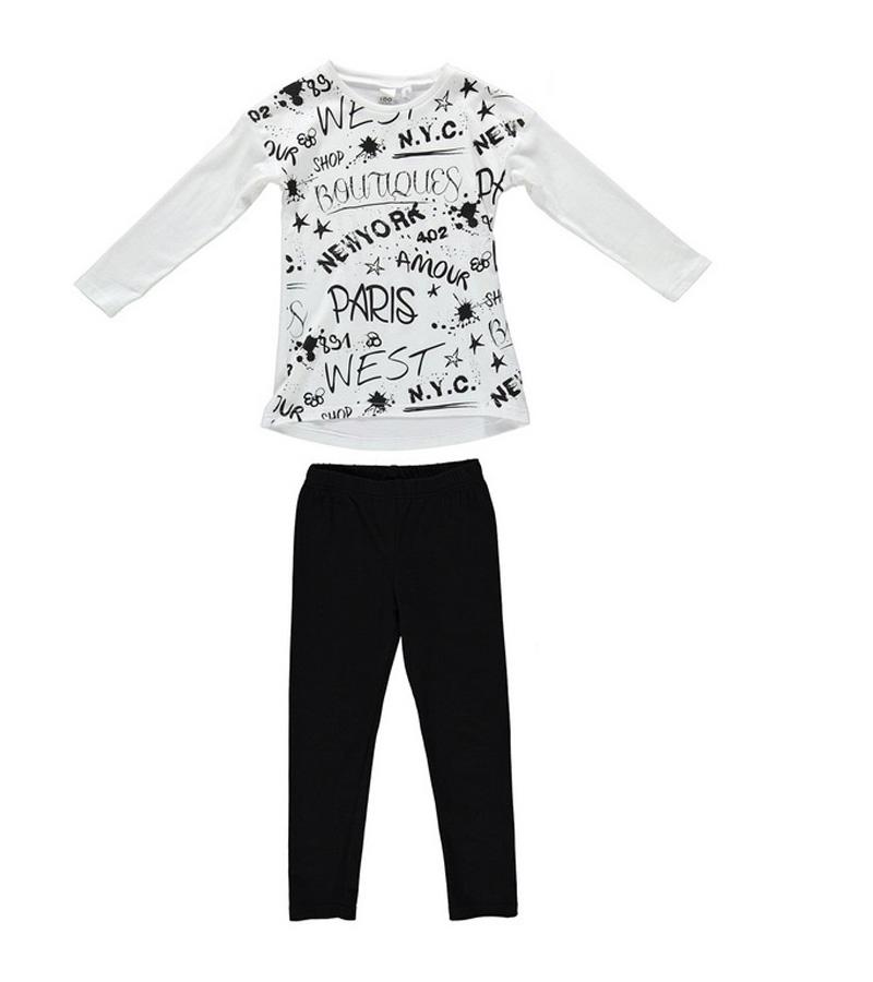 25e714451ec Σετ φόρμες λευκό-μαύρο κορίτσι IDOmini 4S590   Έπιπλο παιδικό ...