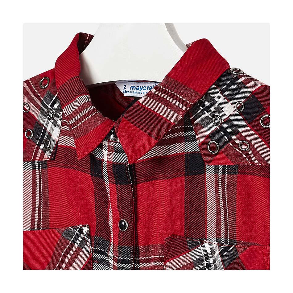 941f4f89dd5 Πουκάμισο καρώ κόκκινο-μαύρο κορίτσι Mayoral 4126 | Έπιπλο παιδικό ...